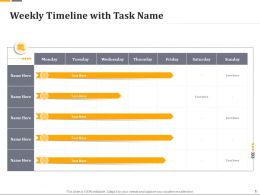 Weekly Timeline With Task Name Ppt File Brochure