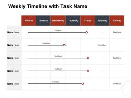 Weekly Timeline With Task Name Ppt File Formats