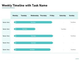 Weekly Timeline With Task Name Ppt Powerpoint Presentation Portfolio Topics
