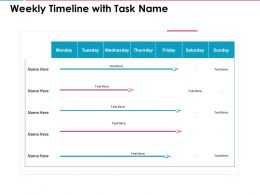 Weekly Timeline With Task Name Ppt Powerpoint Presentation Slides Rules