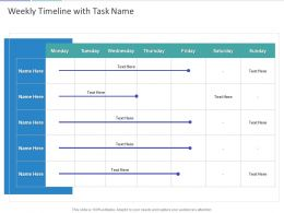 Weekly Timeline With Task Name Ppt Powerpoint Presentation Summary Show