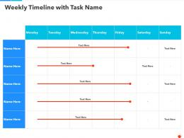 Weekly Timeline With Task Name Ppt Summary