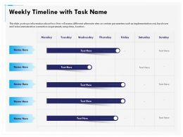 Weekly Timeline With Task Name R148 Ppt Topics