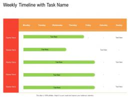 Weekly Timeline With Task Name Retail Industry Business Plan For Start Up Ppt Clipart