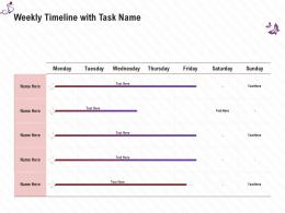 Weekly Timeline With Task Name Stage Shows Management Firm Ppt Template