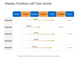 Weekly Timeline With Task Name Sunday Powerpoint Presentation Skills Ppt Icons