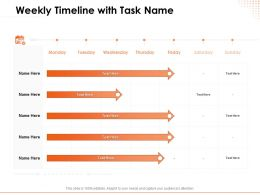 Weekly Timeline With Task Name Week Ppt Powerpoint Presentation Example