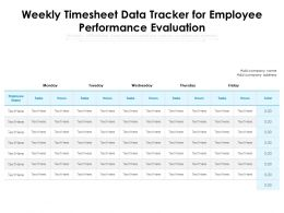 Weekly Timesheet Data Tracker For Employee Performance Evaluation