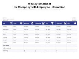 Weekly Timesheet For Company With Employee Information