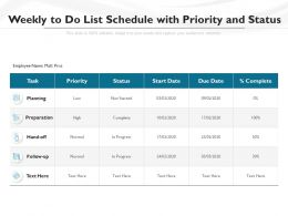 Weekly To Do List Schedule With Priority And Status