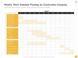 Weekly Work Schedule Planning By Construction Company Place Ppt Powerpoint Presentation File Vector