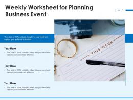 Weekly Worksheet For Planning Business Event