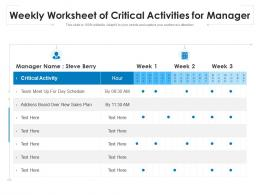 Weekly Worksheet Of Critical Activities For Manager