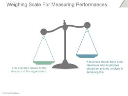 Weighing Scale For Measuring Performances Powerpoint Templates