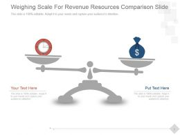 Weighing Scale For Revenue Resources Comparison Slide