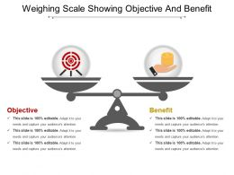 Weighing Scale Showing Objective And Benefit Powerpoint Layout