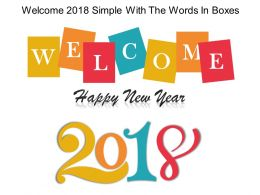 Welcome 2018 Simple With The Words In Boxes Powerpoint Guide
