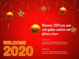 Welcome 2020 New Year With Golden Confetti And Glittery Stars Ppt Rules