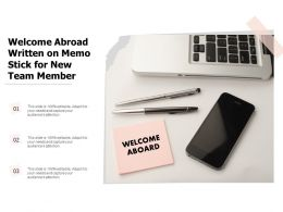 Welcome Abroad Written On Memo Stick For New Team Member