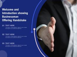 Welcome And Introduction Showing Businessman Offering Handshake