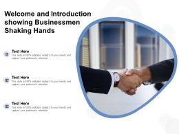 Welcome And Introduction Showing Businessmen Shaking Hands