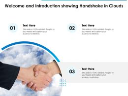 Welcome And Introduction Showing Handshake In Clouds