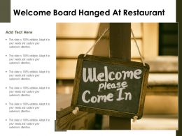 Welcome Board Hanged At Restaurant