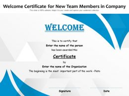 Welcome Certificate For New Team Members In Company