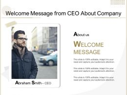 Welcome Message From CEO About Company
