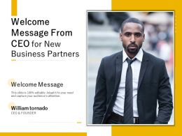 Welcome Message From CEO For New Business Partners