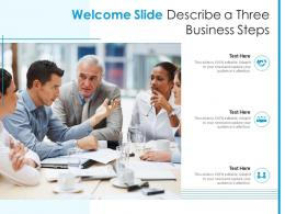 Welcome Slide Describe A Three Business Steps Infographic Template