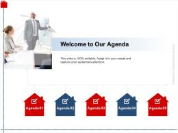 Welcome To Our Agenda L1844 Ppt Powerpoint Presentation Slides Structure