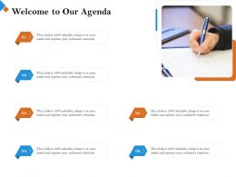 Welcome To Our Agenda M2456 Ppt Powerpoint Presentation Gallery Master Slide