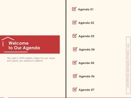Welcome To Our Agenda M291 Ppt Powerpoint Presentation Icon Picture