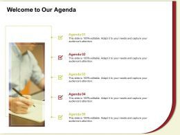 Welcome To Our Agenda M606 Ppt Powerpoint Presentation Icon Professional