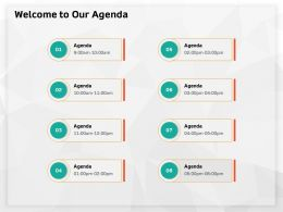Welcome To Our Agenda M632 Ppt Powerpoint Presentation Model Samples
