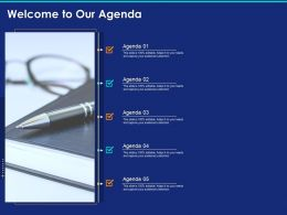 Welcome To Our Agenda Ppt Powerpoint Presentation Inspiration Diagrams