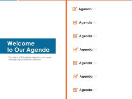 Welcome To Our Agenda Ppt Powerpoint Presentation Styles Information