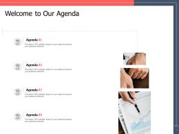 Welcome To Our Agenda Ppt Powerpoint Presentation Styles Slide Portrait