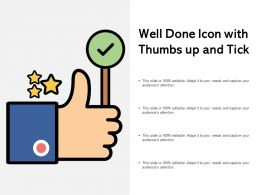 Well Done Icon With Thumbs Up And Tick