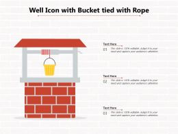 Well Icon With Bucket Tied With Rope