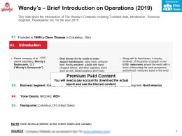 Wendys Brief Introduction On Operations 2019