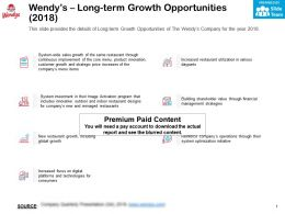 Wendys Long Term Growth Opportunities 2018