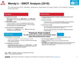 Wendys Swot Analysis 2018