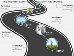 wf Business Vision Success Growth Road Map For Future Planning Flat Powerpoint Design