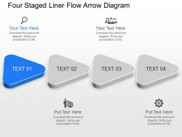 Wf Four Staged Liner Flow Arrow Diagram Powerpoint Template