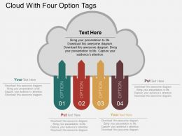 wg Cloud With Four Option Tags Flat Powerpoint Design