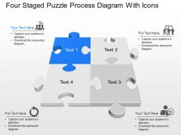 Wg Four Staged Puzzle Process Diagram With Icons Powerpoint Template