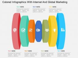 wh Colored Infographics With Internet And Global Marketing Flat Powerpoint Design