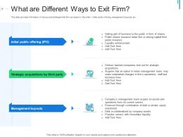 What Are Different Ways To Exit Firm Initial Public Offering IPO As Exit Option Ppt Styles